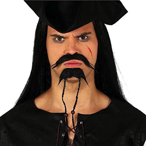 NET TOYS Estilizada Barba de Pirata Jack Sparrow - Negro - Original Accesorio Disfraz para Caballero Pirata Bigote y Barba - El Punto Alto para Festival y Fiestas temáticas
