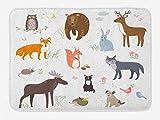 Lunarable Cabin Bath Mat, Animals in The Springtime Meadow Woodland Fauna Room, Plush Bathroom Decor Mat with Non Slip Backing, 29.5' X 17.5', Brown White