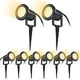 SAILUN 8 x 3W LED Gartenleuchte Rasen Licht mit Erdspieß, Matt-Schwarz, Warmweiß 85-265V, wasserdicht IP65 für den Außenbereich Garten Teich Park Landschaft