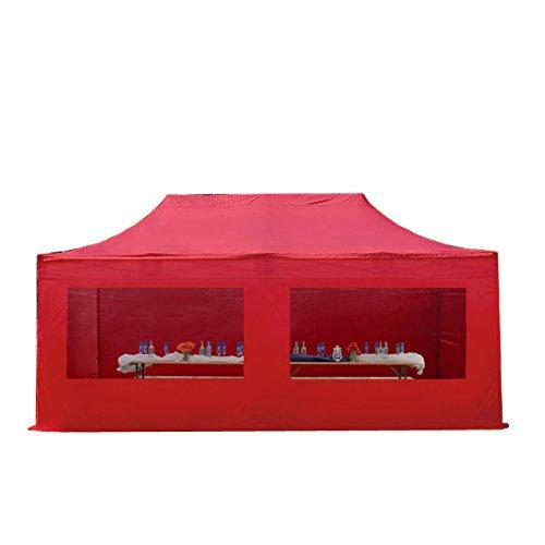 Cenador plegable de pabellón plegable–Tienda 4x 8m–500g/m² aprox Plane + 50mm aprox armazón de aluminio––Carpa para jardín jardín tienda Protección Solar Mark Stand Emergentes, con 4laterales (Panorama), color rojo