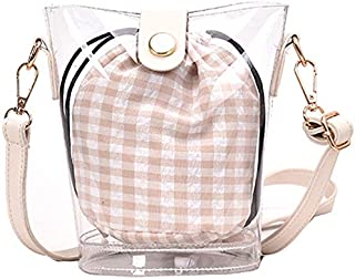 TOOGOO New Korean Version Of the Wild Bucket Transparent Bag Popular Lattice Jelly Package Messenger Bag Red
