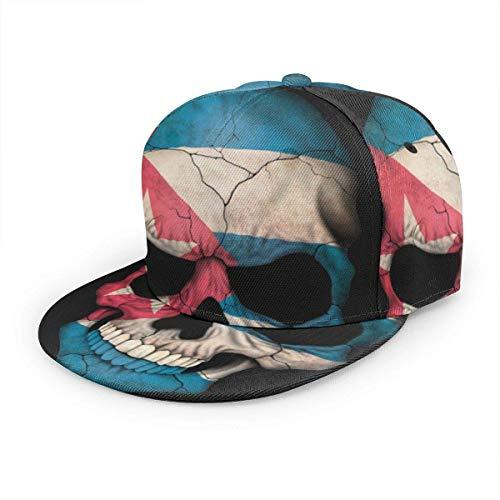 Baseballkappe mit Kubanischer Flagge, Totenkopf, Unisex, 3D-Druck, klassisch, Snapback, flacher Schirm, Hip-Hop-Hüte, schwarz