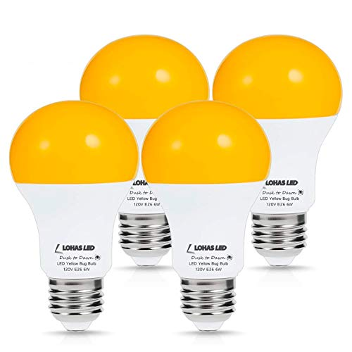LOHAS Yellow LED Bug Light Bulb, Amber Yellow Bug Outdoor Porch Lights, A19 Dusk to Dawn Sensor Bug Light 40W Equivalent, E26 Security Auto On/Off LED Bulb, 500LM Yellow Bulbs for Bug Outdoor, 4Pack