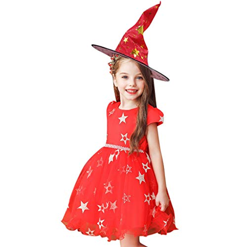 Riou Hexenkostüm mit Kaputze Halloween Kostüm Mädchen ärmelloses Fasching Paty Cospaly Kostüm Hexen Kostüm Kleinkind Baby Mädchen Prinzessin Tulle Rock Kleid