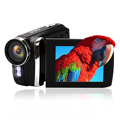 Video Camera Camcorder Vmotal 12MP Rechargeable Digital Camera Recorder Full HD 1080P 2.8 Inch 270 Degree Rotation LCD Flip Screen for Kids/Beginners/Seniors (Black)