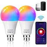 AISIRER Alexa Smart Bulb WiFi Light Bulbs B22 Bayonet, 2 Pack, 10W 1000LM, App or Voice Control, 90W Dimmable White and RGBCW Colour Changing Light Bulb, Works with Alexa, Google Home, No Hub Required