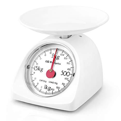Orbegozo PC 1015 - Peso de cocina mecánico, capacidad máxima 2 kg, escalado 10 g, superficie de plástico lisa