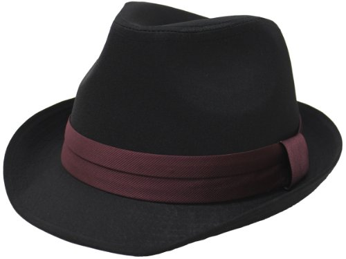 [エクサス]EXAS 中折れハット ブラックボディー無地 サテンリボン 大きいサイズ帽子約62cm 透明な帽子置き付き ブラックワイン