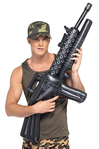 Smiffy's-39512 Ametralladora Hinchable, 112cm, Color Negro, No es Applicable (39512)
