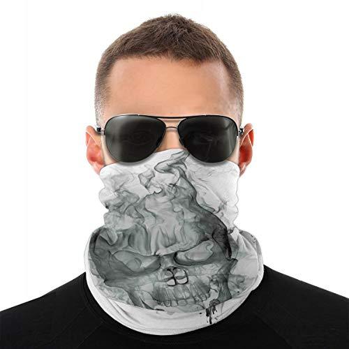 WANGKG Cubierta de la cara,Polaina de cuello,Ilustración contemporánea de Smokey Skull Grungy Dark Horror Style Devil Evil Print,Pasamontaña,Bufanda