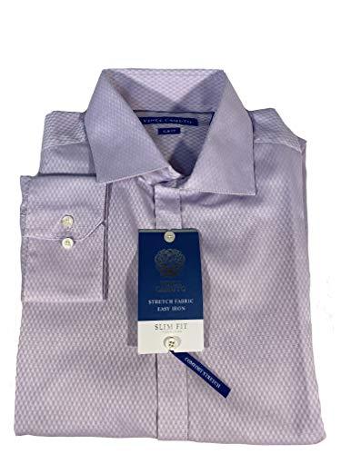 Camisa Vince Camuto Stretch Slim Fit Easy Iron (Roxo-com-Padrões, Grande)