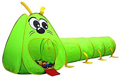 Kiddey Caterpillar Play Tunnel and Tent Combo (2-Piece Set) – Kids Crawling and Exploration Discovery Station for Early Learning and Muscle Development – Indoor/Outdoor Use – by Kiddey by Kiddey