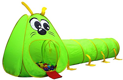 Product Image of the Kiddey Caterpillar Play Tunnel and Tent Combo (2-Piece Set) – Kids Crawling...