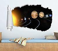 UYEDSRウォールステッカーソーラープラネタリースペース3D破れた穴ウォールステッカーデカールアート壁画60x90cm