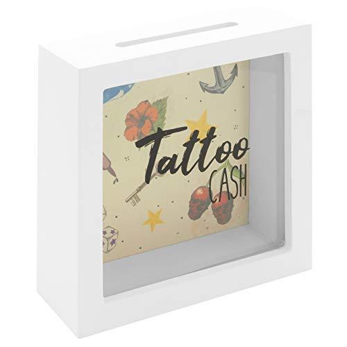 MIK Funshopping Spardose Tattoo Cash aus Holz mit Sichtfenster - Spare Geld für Deine Tätowierungen (Weißes Gehäuse mit Retro-Motiven farbig)