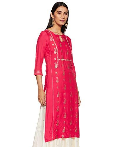 W for Woman Women's Rayon Kurta (19AUW12497L-112317_Pink_L (12))
