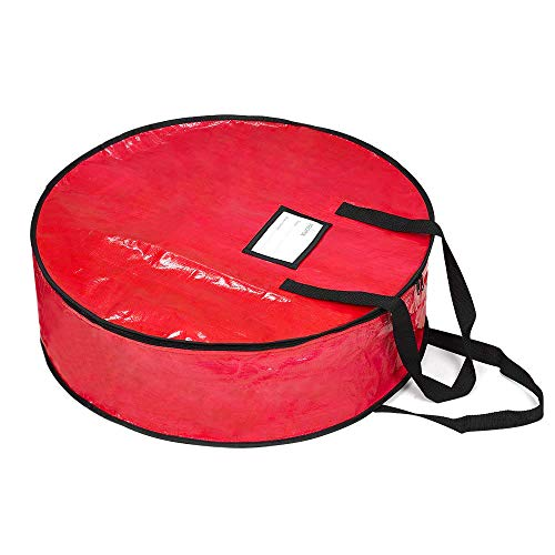 """Wreath Storage Bag By Propik 24'- Tear Resistant Fabric For Holiday Easy Storage Featuring Heavy Duty Handles And Transparent Card Slot 24"""" X 24"""" X 8"""" (Red)"""