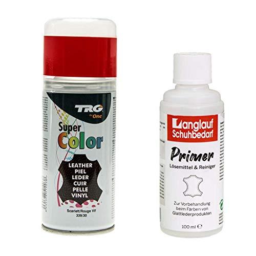 TRG Lederfarbspray 150ml Dose Lederfarbe + Primer Lederreiniger 100ml zum Umfärben von Glattleder (scarlet rot 339/30)