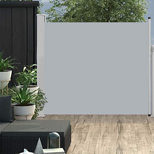 UnfadeMemory Toldo Lateral Retráctil para Jardín Patio Balcón,Protección de la Intimidad,Función de Enrollado Automático (100x300cm, Gris)