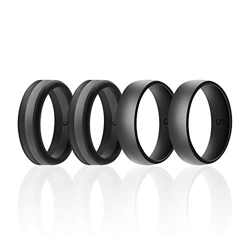 SANXIULY Men's Functional Silicone Ring&Rubber Wedding Bands for Workout and Sports Width 8mm Pack of 4 Size 8