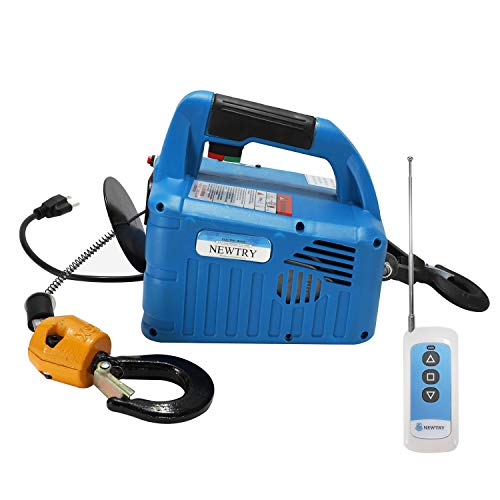 NEWTRY 1100lb Lift Electric Hoist Winch 7.6m/25ft 110V Wireless Remote Control with Overload Protection
