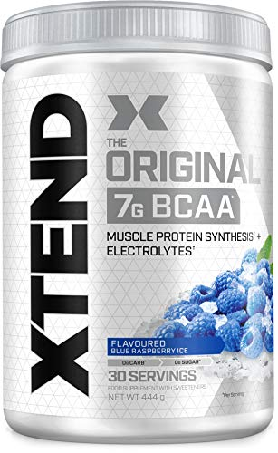 XTEND Original BCAA Powder Blue Raspberry Ice | Branched Chain Amino Acids Supplement | 7g BCAAs + Muscle Protein Synthesis Electrolytes for Recovery & Hydration | 30 Servings