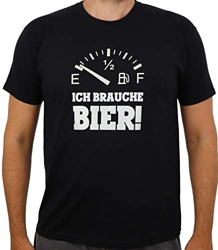 T-Shirt Bier-Tank leer, Ich Brauche Bier!, Funshirt, Trinken, Geschenk, Urlaub, Party (Brauche Bier, L)