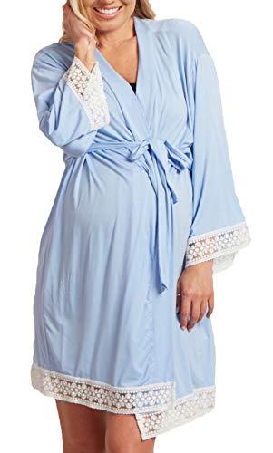 Mujer Embarazadas Camisones Mangas Encaje con V-Cuello 3/4 Vestido Modernas Casual Premama Elegantes Moda Cómodo Suave Respirable Pijama Embarazadas (Color : Azul Claro, Size : L)