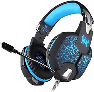 Xingyuan Technology PS4、PC、Xbox One用のゲームヘッドフォンベースサラウンドノートPC用のマイクソフトメモリイヤーマフ付きノイズキャンセリングヘッドセットNintendo Switch Games (色 : 青)
