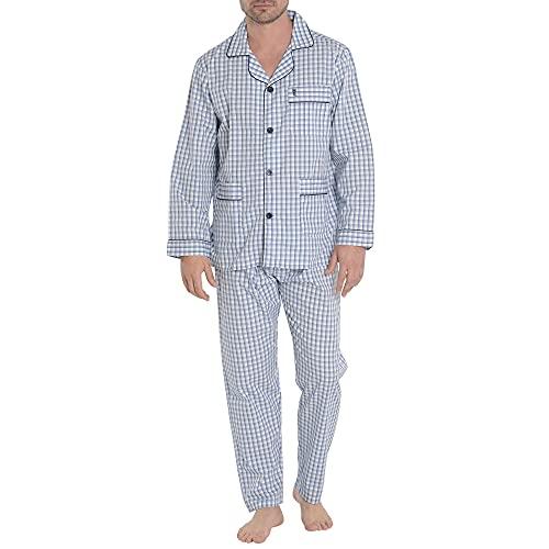 El Búho Nocturno - Pijama Hombre Largo Solapa Popelín Cuadros Azul 60% algodón 40% poliéster Talla 7 (XXXL)