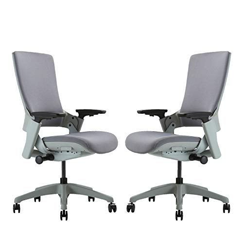 CLATINA Ergonomic High Swivel Executive Chair with Adjustable Height 3D Arm Rest Lumbar Support and Upholstered Back for Home Office Grey Fabric 2 Pack