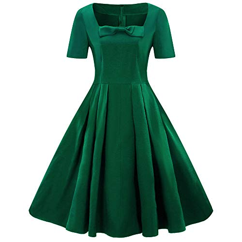 Amazing Deal Fashion Women Dress Plus Size Short Sleeve Vintage Solid Bow Retro Flare Dress (Green, ...