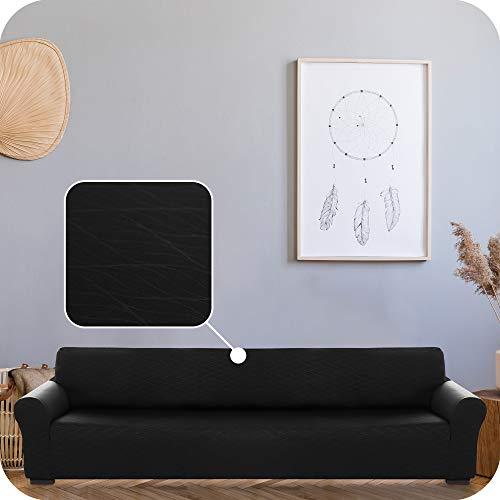 UMI. by Amazon Funda para Sofa Decorativa Suave de Salon Comedor 4 Plazas Negro