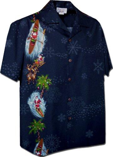 Pacific Legend Santa and Snowflakes Christmas Hawaiian Shirt (XL, Navy)