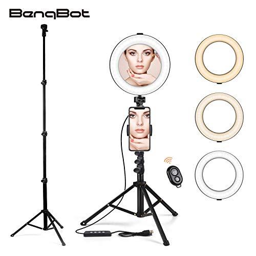 """BenqBot LED Ring licht Stativ mit Spiegel, 8.2"""" Dimmbar 3200K-5500K Ringleuchte mit Handy Halter und Fernauslöser, 3 Lichtmodi 11 Helligkeitsstufen für Youtuber, Make-up, Self-Porträt, live Stream"""