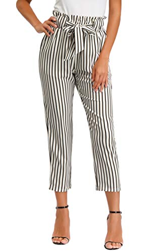 GRACE KARIN Women's Pants Trouser Slim Casual Cropped Paper Bag Waist Pants with Pockets (X-Large, Ivory&Black Striped)
