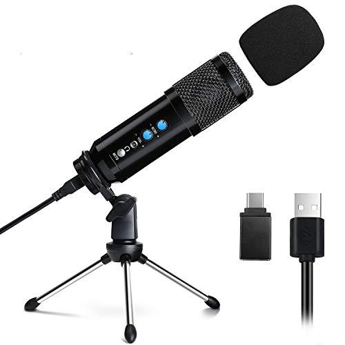 Mikrofon für PC und Handy, EXJOY Desktop Kondensatormikrofon mit Type-C Adapter und 3,5mm Kopfhöreranschluss, für Windows/iOS/Android, Youtube, Vlog, Streaming, Podcast, Gaming