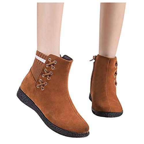 Winsummer Womens Warm Fur Lined Winter Snow Boots Anti-Slip Ankle Booties Suede Flat Shoes