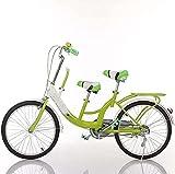 HUAQINEI Coche para Padres e Hijos de 26 Pulgadas, Coche para Madre e Hijo, Bicicleta tándem de Dos plazas con Bicicletas para niños, para Mujeres, para Mujeres, Rosa