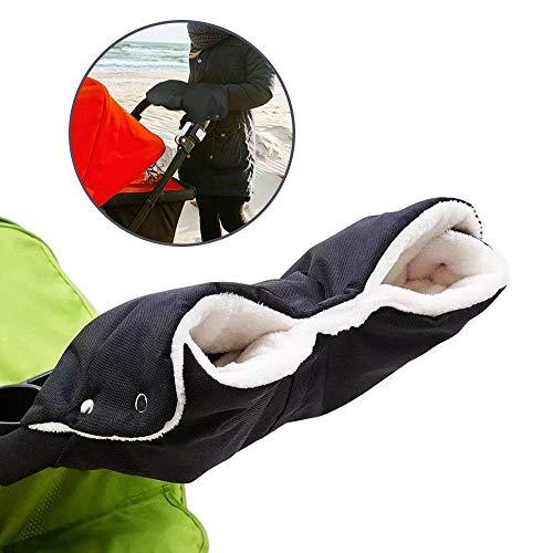 Dmqpp Wandelaccessoire, handmof, waterdicht, sterk baby-kinderwagen, pray/kinderwagen, fleece, handschoenen, handwarmer, wanten voor de meeste kinderwagens en buggy, zwart
