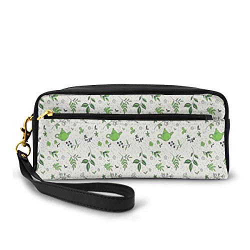 Pencil Case Pen Bag Pouch Stationair, Exotische Kruidenthee Concept Groene Thee En Jasmijn Bladeren, Kleine Make-up Bag Coin Purse
