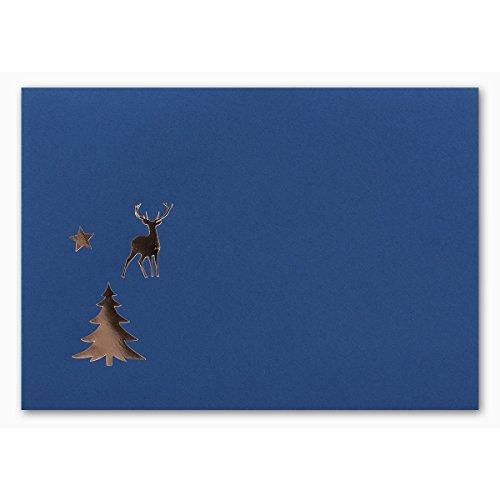 100x kerstenveloppen I DIN C6 I met koper-reliëf hert, ster & boom I enveloppe kleur: nachtblauw I natte lijmen I 110 g / m2 I 114 x 162 mm I Merk: Gustav NEUSER®