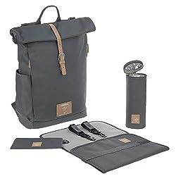 LÄSSIG Baby Wickelrucksack mit Wickelunterlage, Kinderwagenbefestigung, Flaschenwärmer wasserabweisend nachhaltig produziert/Rolltop Backpack anthracite