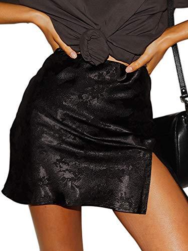 LYANER Women's Elegant Satin Silk Side Split Slit Zipper High Waist Mini Short Skirt Black Small