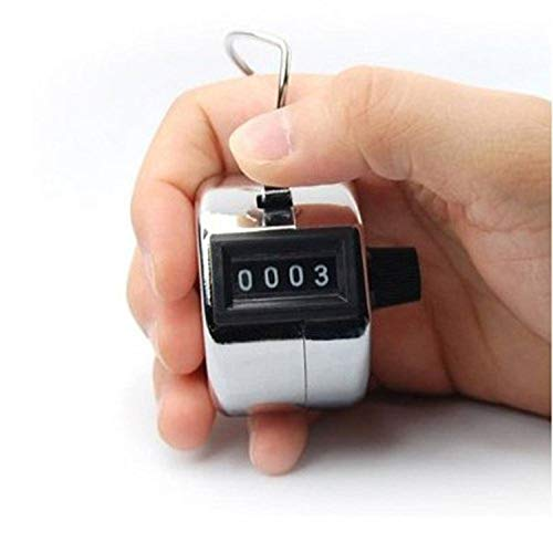 HORSKY Clicker Tally Counter Hand Pitch Lap Counter Manual Mechanical Handheld Clicker with Finger Ring Sliver Digit Number for Knitting Row Crochet
