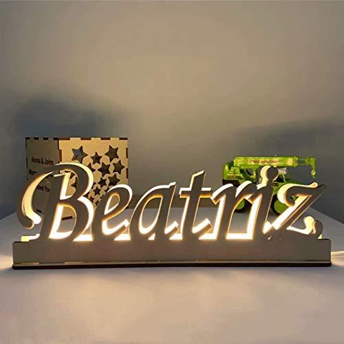 Luz de pared con nombre grabado de madera personalizado, luz de letra Led con alfabeto, lámpara de noche con batería LED creativa, decoración de letras para habitación de fiesta de boda
