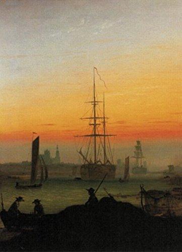 1art1 Caspar David Friedrich - Greifswalder Hafen, 1815-1816, 2-Teilig Selbstklebende Fototapete Poster-Tapete 250 x 180 cm