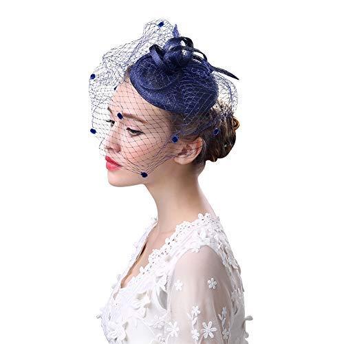 Chapeau de Mariage Nuptial Bibi avec Voilette Elégante Femme Petit Chapeau pour Cérémonie Banquet Soirée Cocktail Derby Église Épingle à Cheveux Fascinator Accessoire de Coiffure Mariée Demoiselle