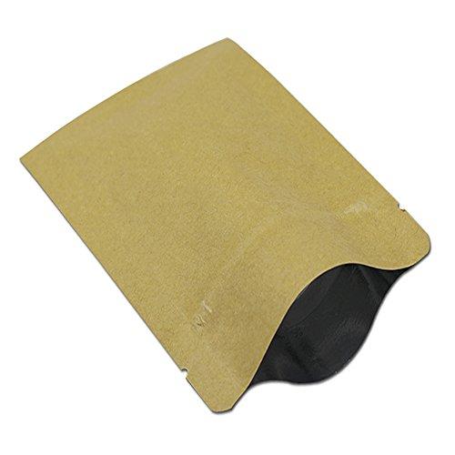 チャック袋 クラフト紙 アルミ箔 密封ポーチ 茶色 ジップロック 再封可能 小分け袋 食品用 コーヒー 茶 菓子 収納ポーチ 包装袋 100個装 (7 x 10 cm)