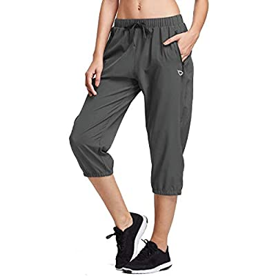 BALEAF Women Lightweight Capri Jogger Hiking Shorts Running Capri Pants Woven Quick Dry Pockets Grey XX-Large